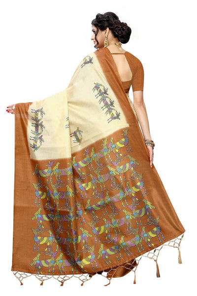 Vamika Multicolor & Brown Kalamkari With Jhalar Khadi Silk Saree
