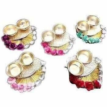 Fancy Haldi Kumkum Holder with Flowers and Kundans - 1 Piece