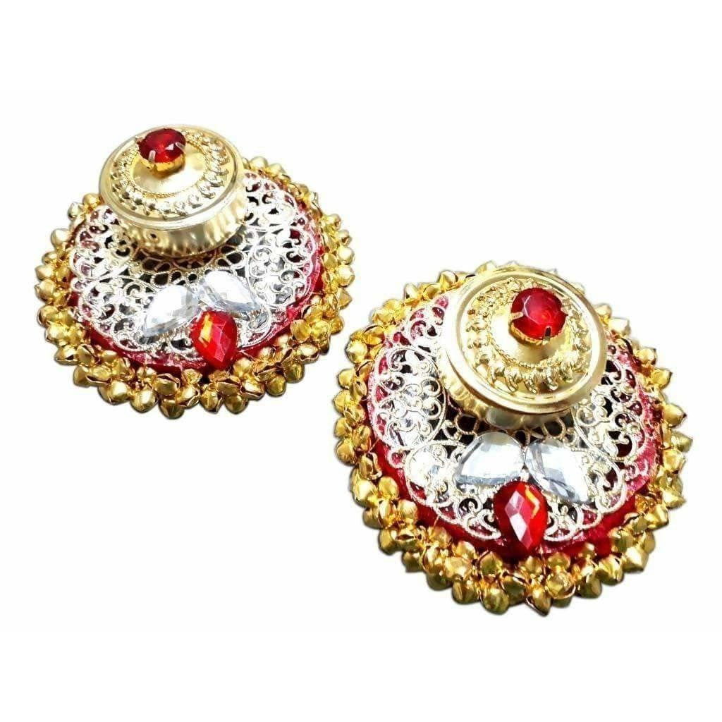 Fancy Haldi Kumkum Holder With red and White Kundans 1- Piece - Dista Cart