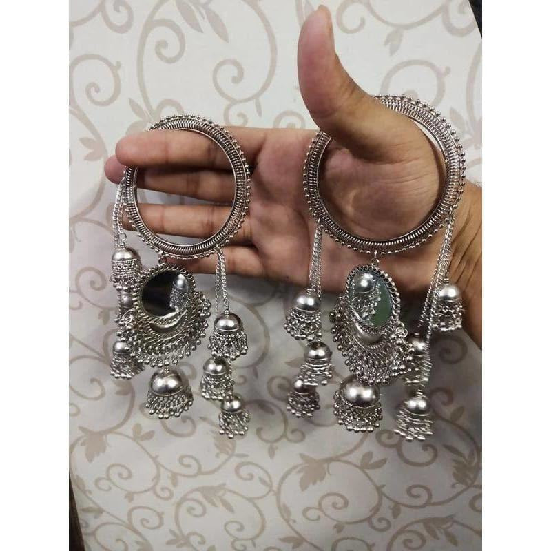 Hanging Jhumkas With Mirror Silver Latkan Bangles