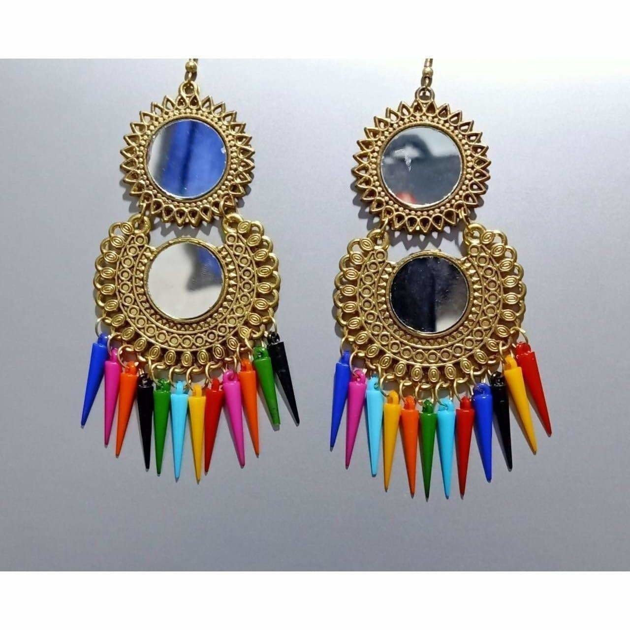 Gold Color Latest Fashion Hanging Earrings With Multicolor Pearls
