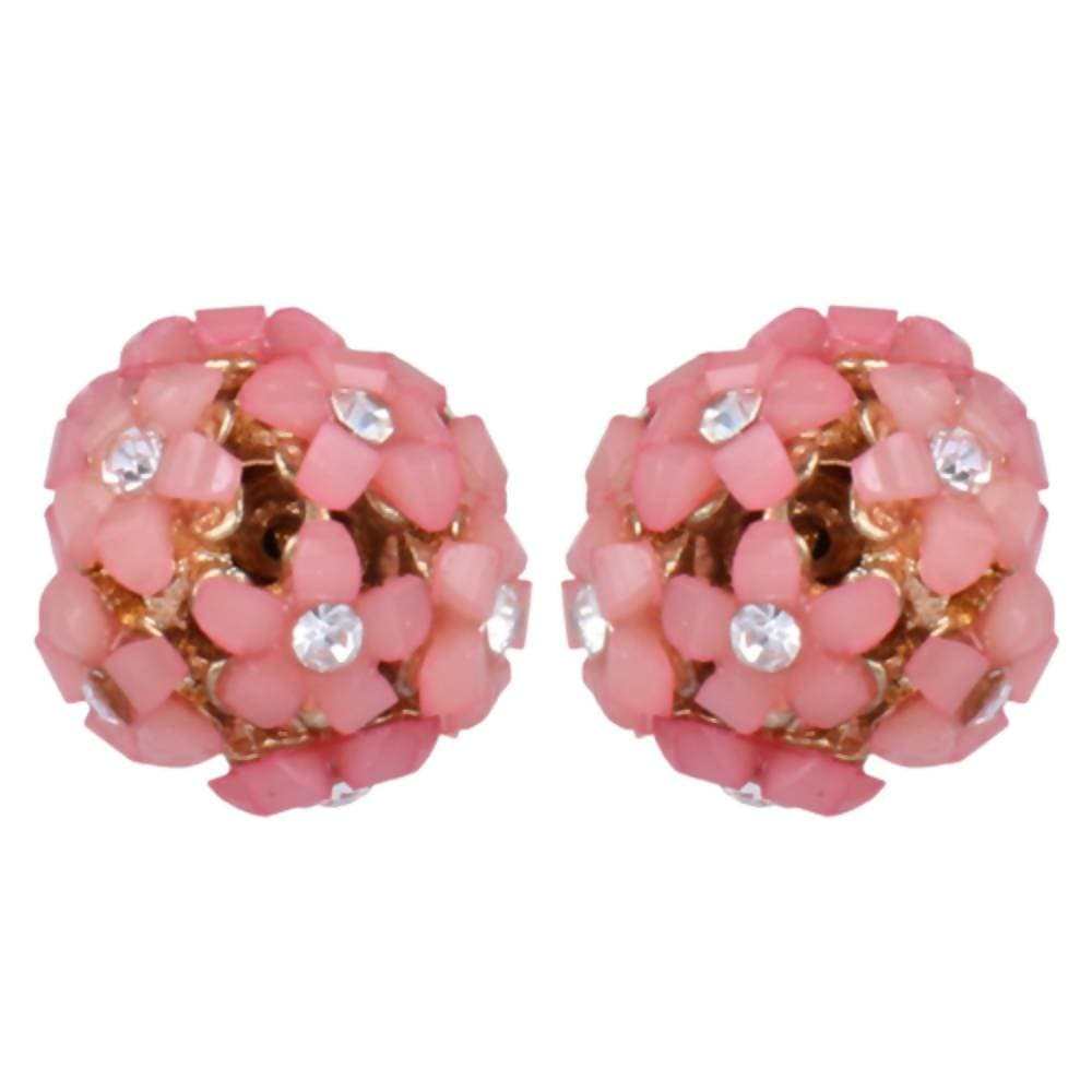 Trendoo Jewelry Gold Plated Stylish Fancy Party Wear Pink Studs