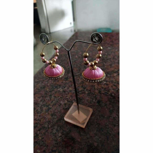 Pink Color Silk Thread Earrings with Beads - Distacart