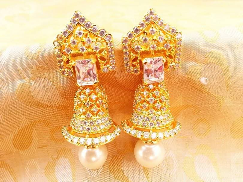 White Ad Pearl And Stones Jhumkas
