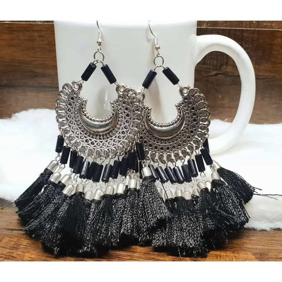 Black Color Threads Oxidized Silver Afghani Chandbali Earrings