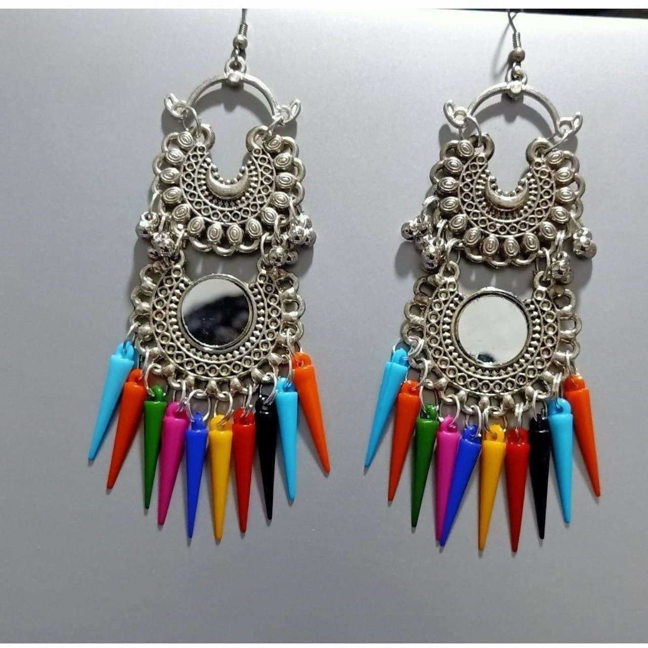 Double Chandbali Hanging Earrings WIth Multicolor Cone Pearls
