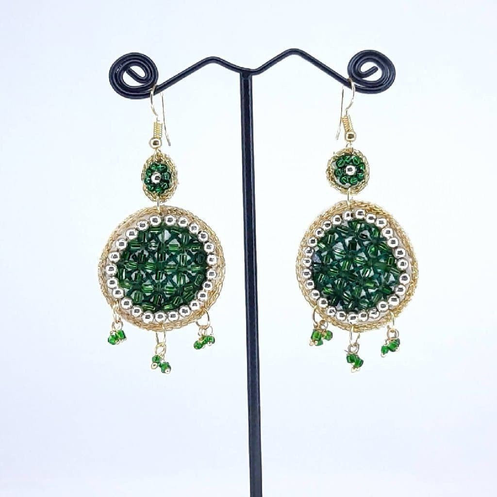 Hand weaved Dangling Sparkle Earrings