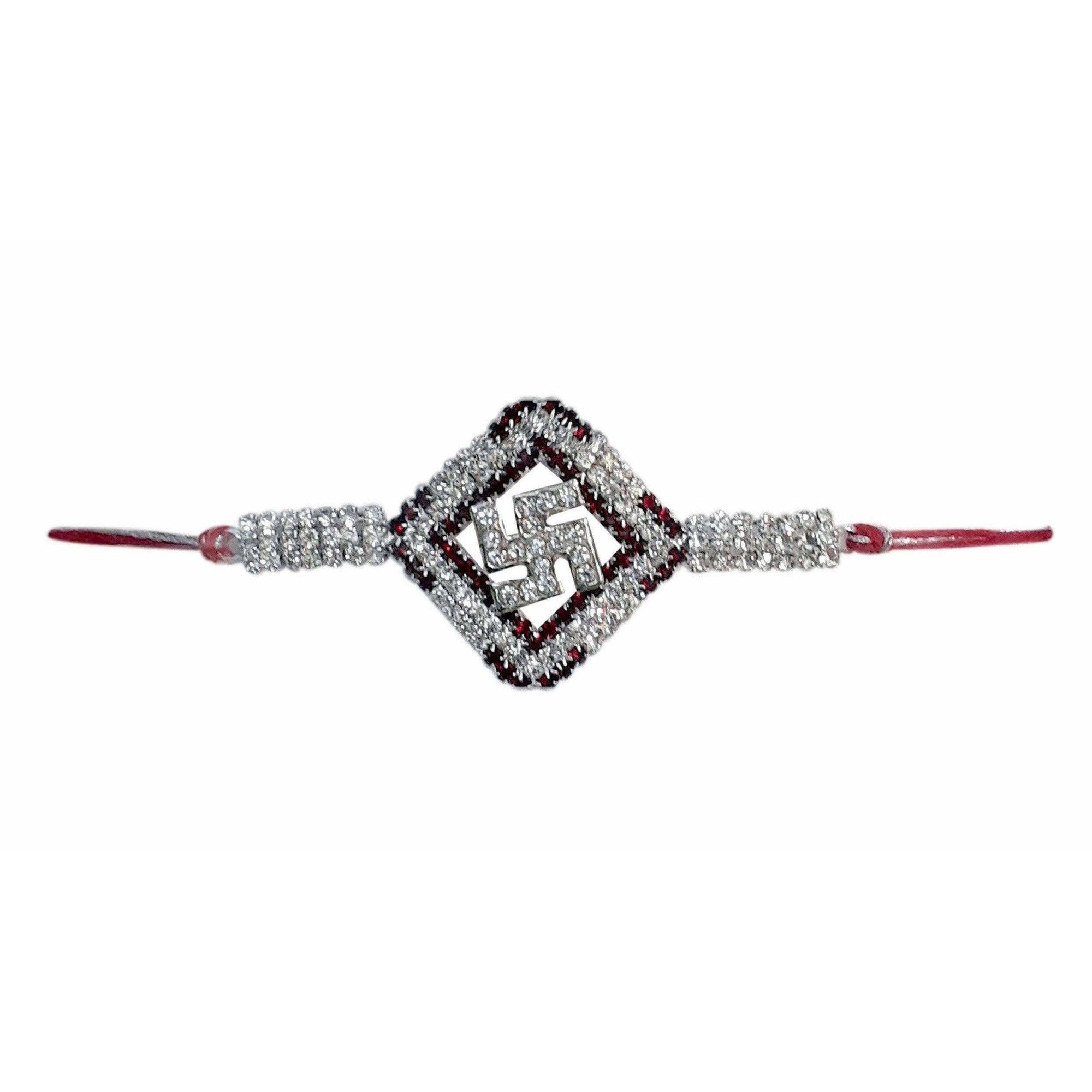 Diamond Shape with White and Red Kundans Rakhi - Dista Cart