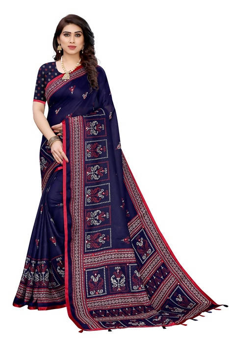Vamika Embroidery Navy Jute Silk Saree (Jhulka Navy)