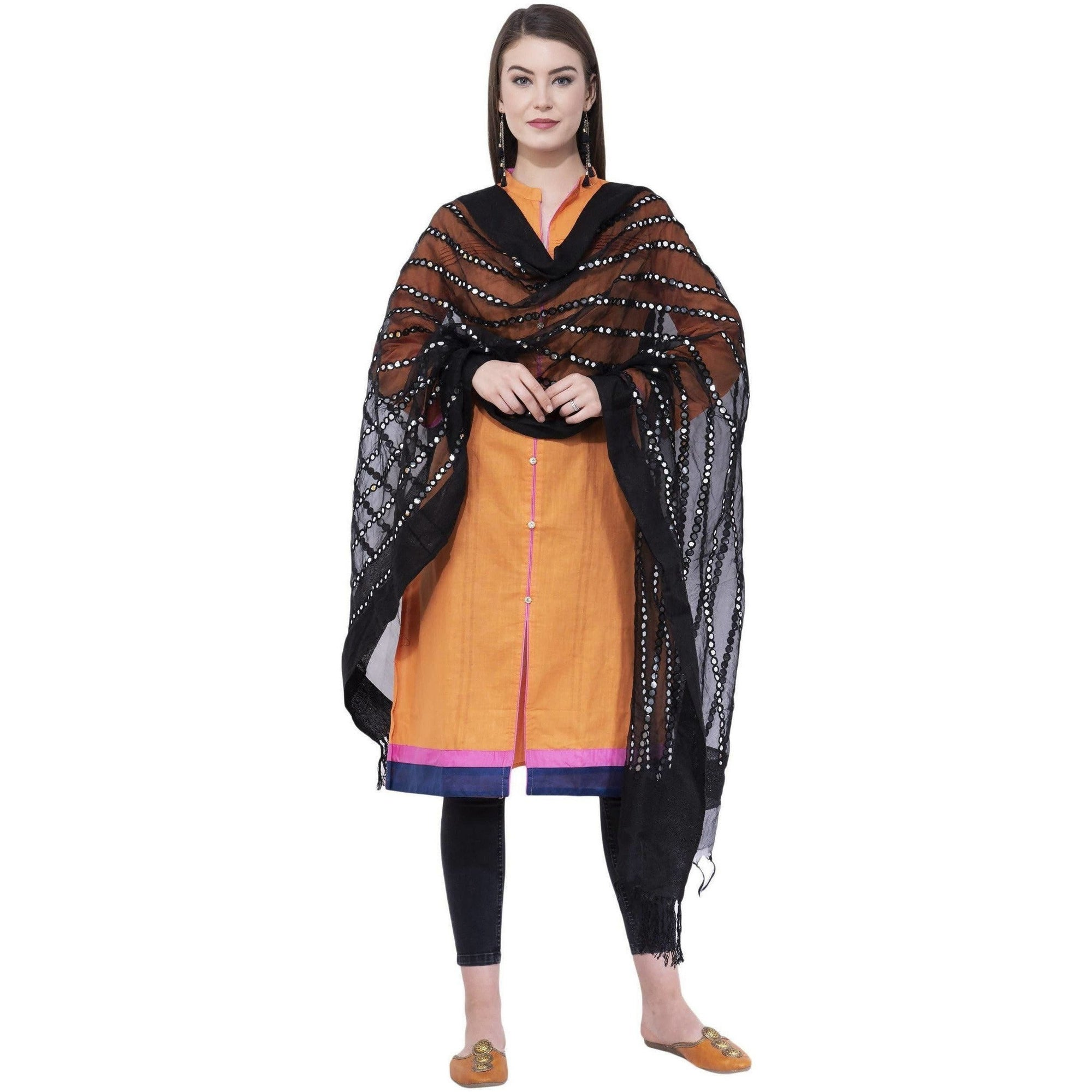 A R Silk Women's Mirror Work Orgenza Cotton Black Dupattas and Chunnis