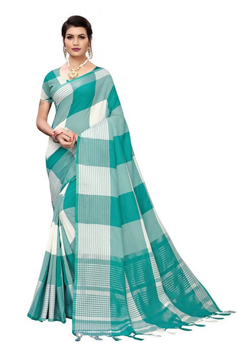 Vamika White Cotton Silk Weaving Saree (Gamma Checks Wine)