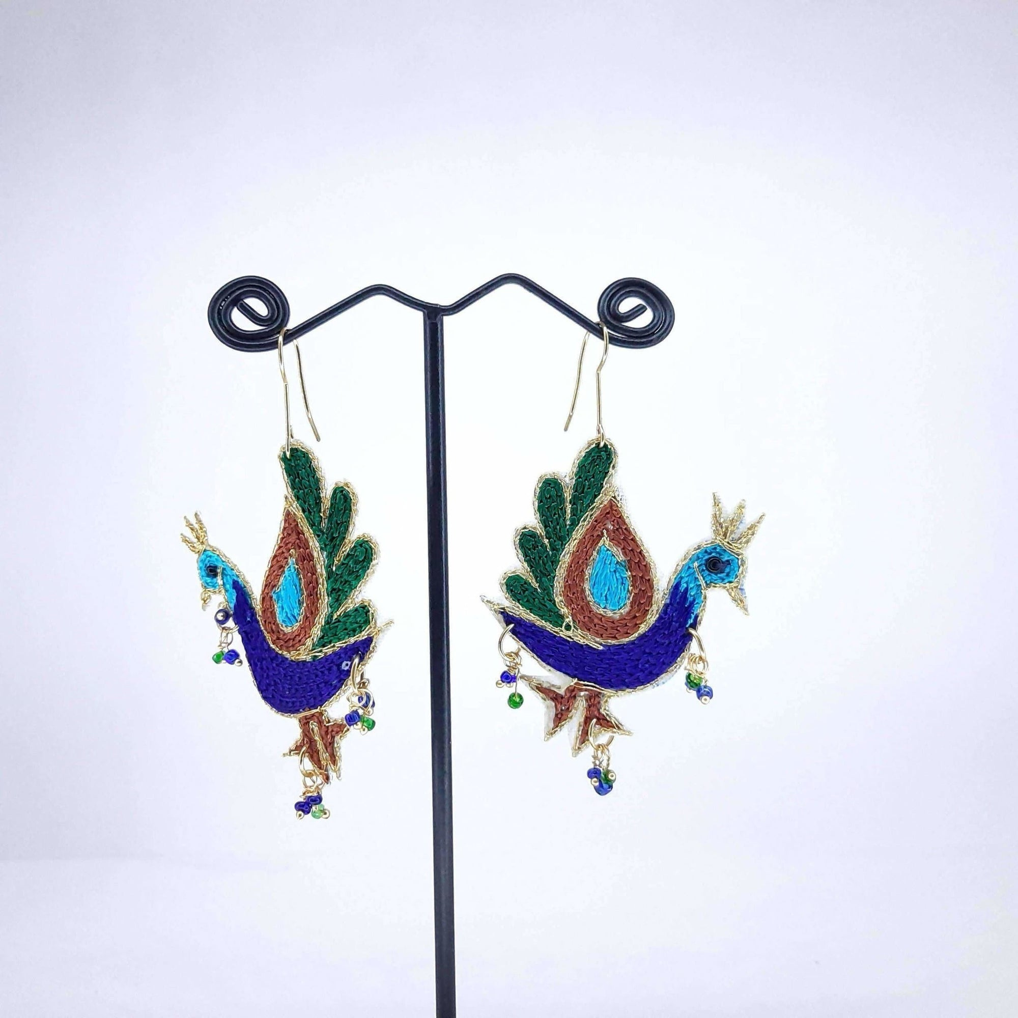 Hand Weaved Ethnic Peacock Shaped Earrings