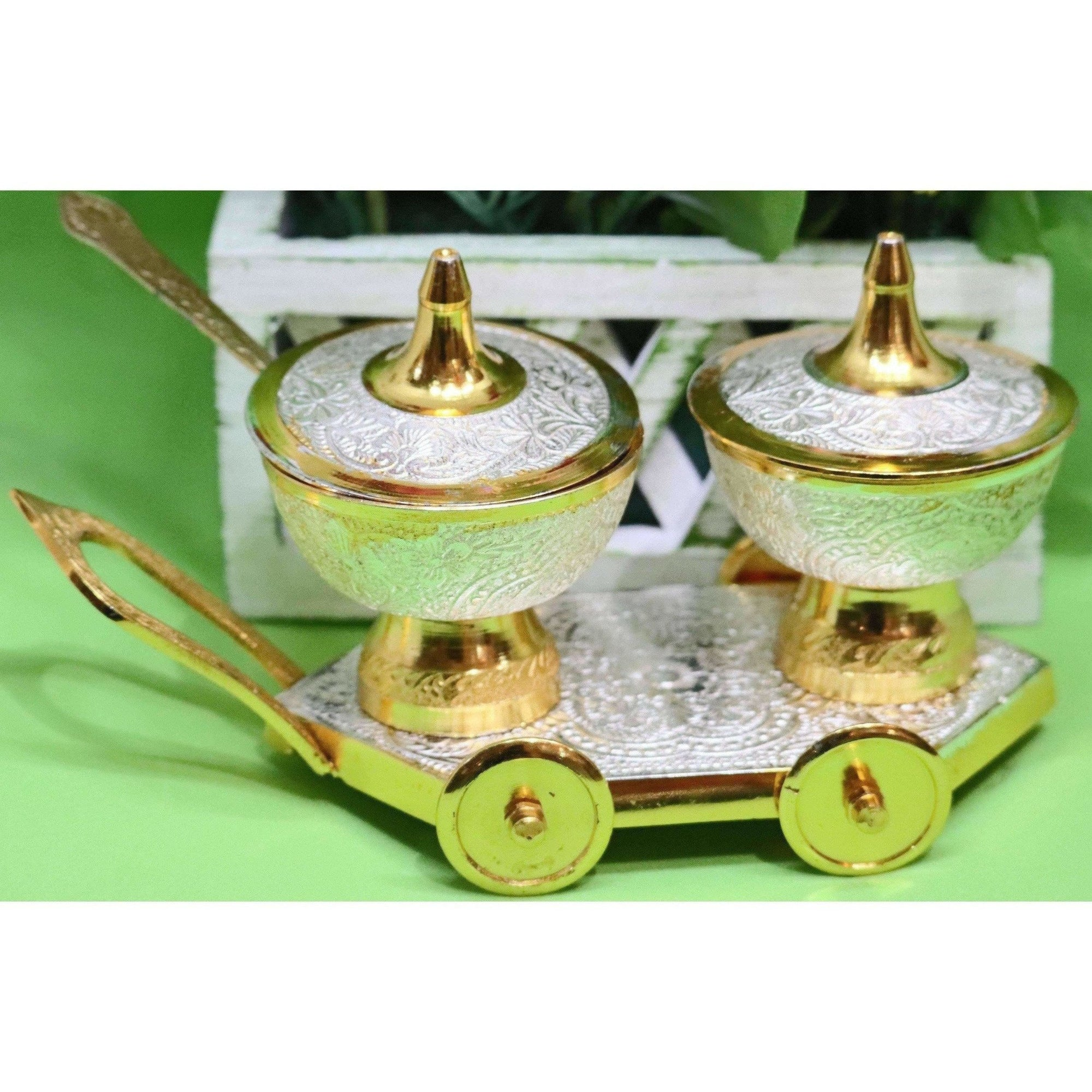 Chahat Premium Living Brass Silver Gold Trolley Set