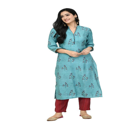 Lagi Women's Turquoise Blue Printed Straight Kurta & Pant (MC41A)