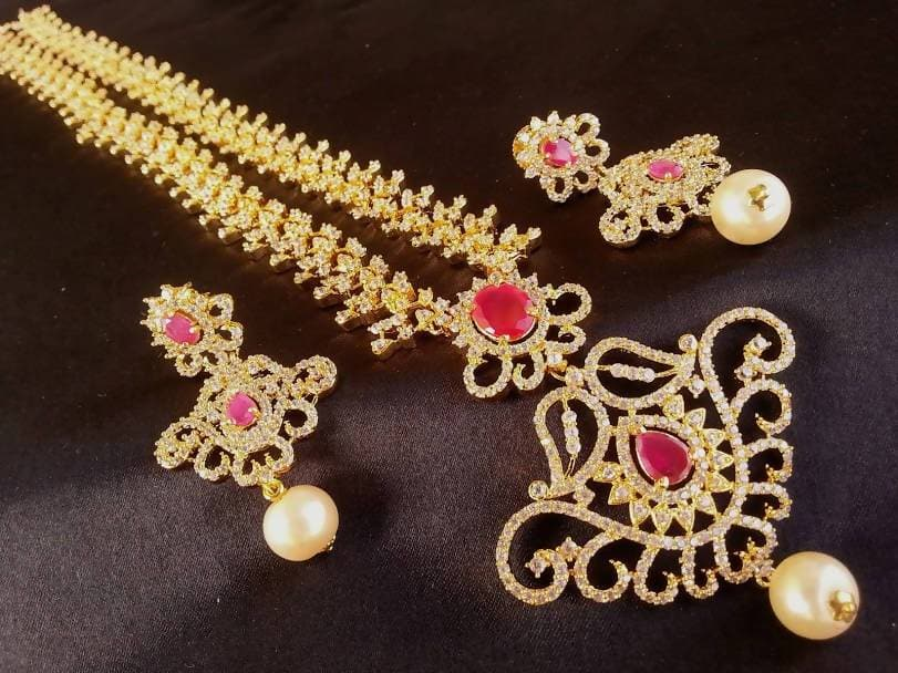 Traditional Ad Ruby Bridal Long Necklace Set