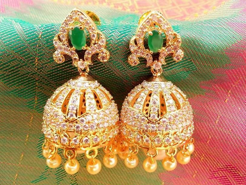 AD Emerald Jhumkas with Pearl Drops