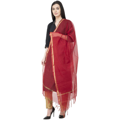 A R SILK Chanderi Piping Regular Dupatta Mehroon Color Dupatta or Chunni