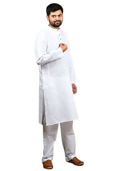 Byogi Cotton Linen Regular White Kurta - Distacart