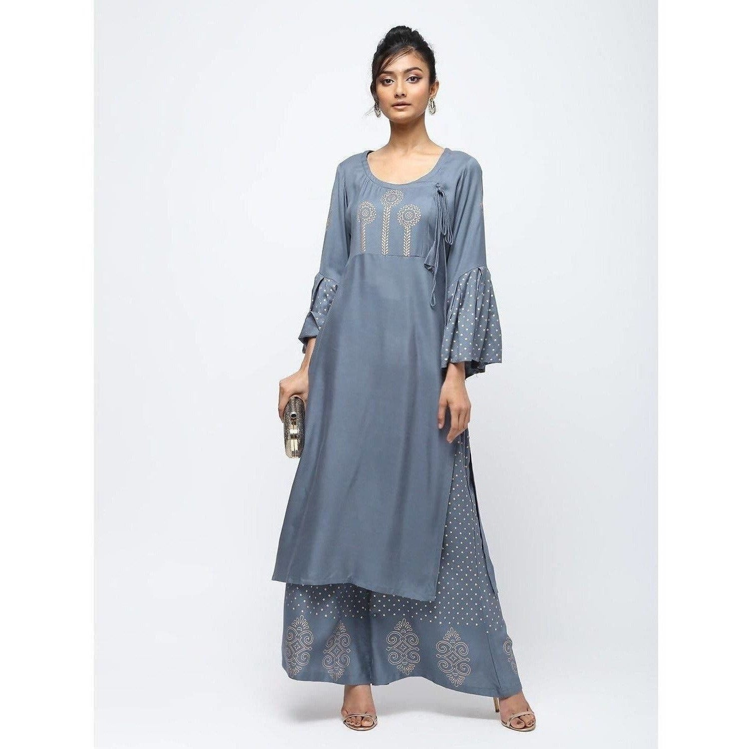 Cheera Flair Kurta With Bell Sleeve Design And Straight Polkadoit Print Plazo