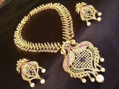 Multicolor Peacock Bridal Necklace Set