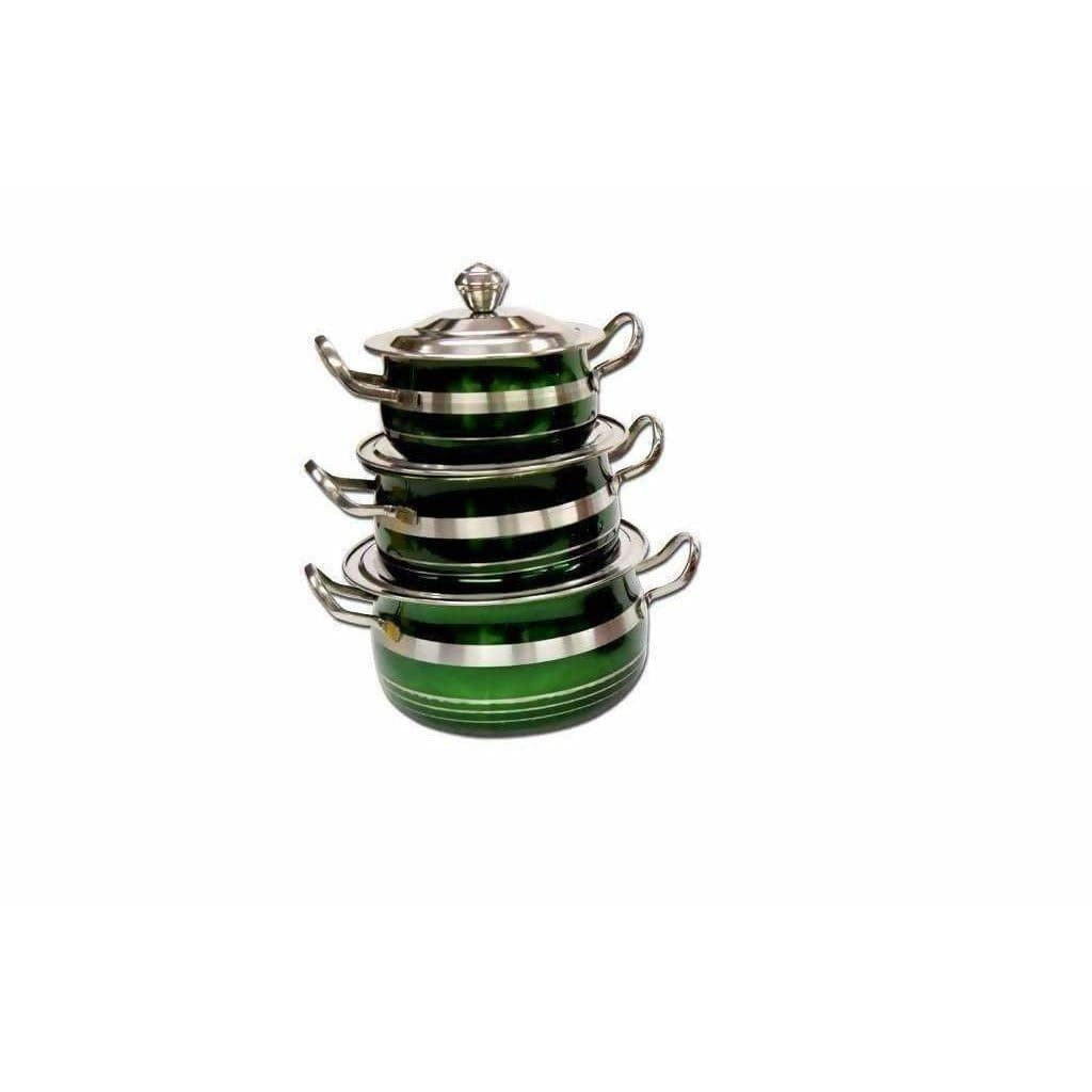 STAINLESS STEEL GREEN COLOR COOKWARE WITH LID