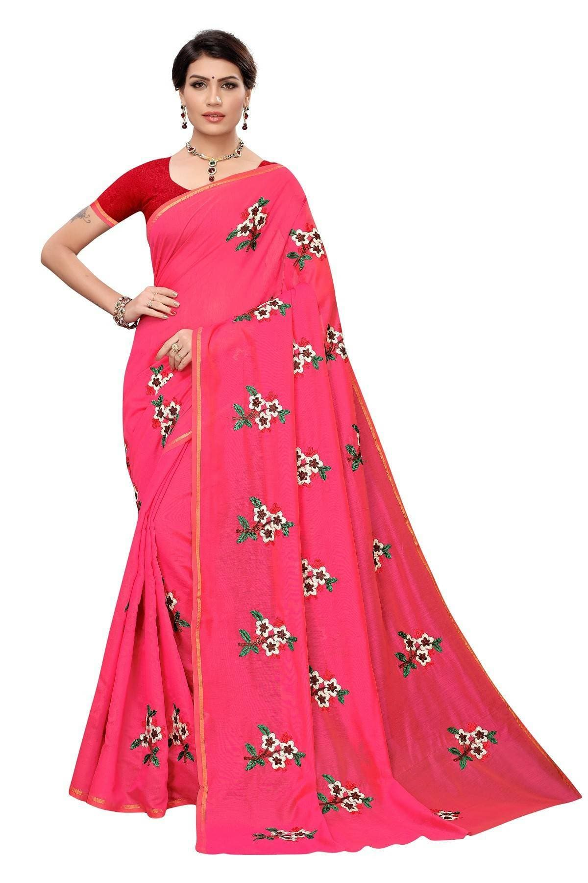 Vamika Pink Chanderi Cotton Embroidery Floral Saree
