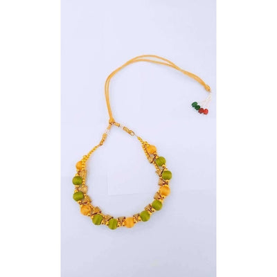 Green and Gold Silk Threaded Necklace Set with Earrings and Maang Tika