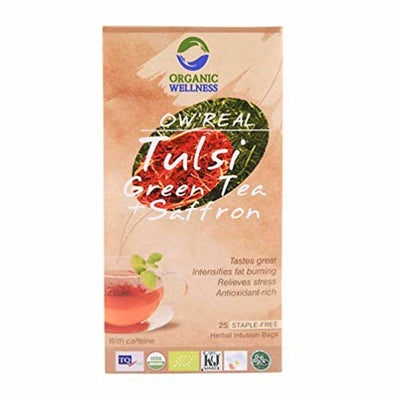 Organic Wellness Ow'Real Tulsi Green Tea + Saffron Tea Bags