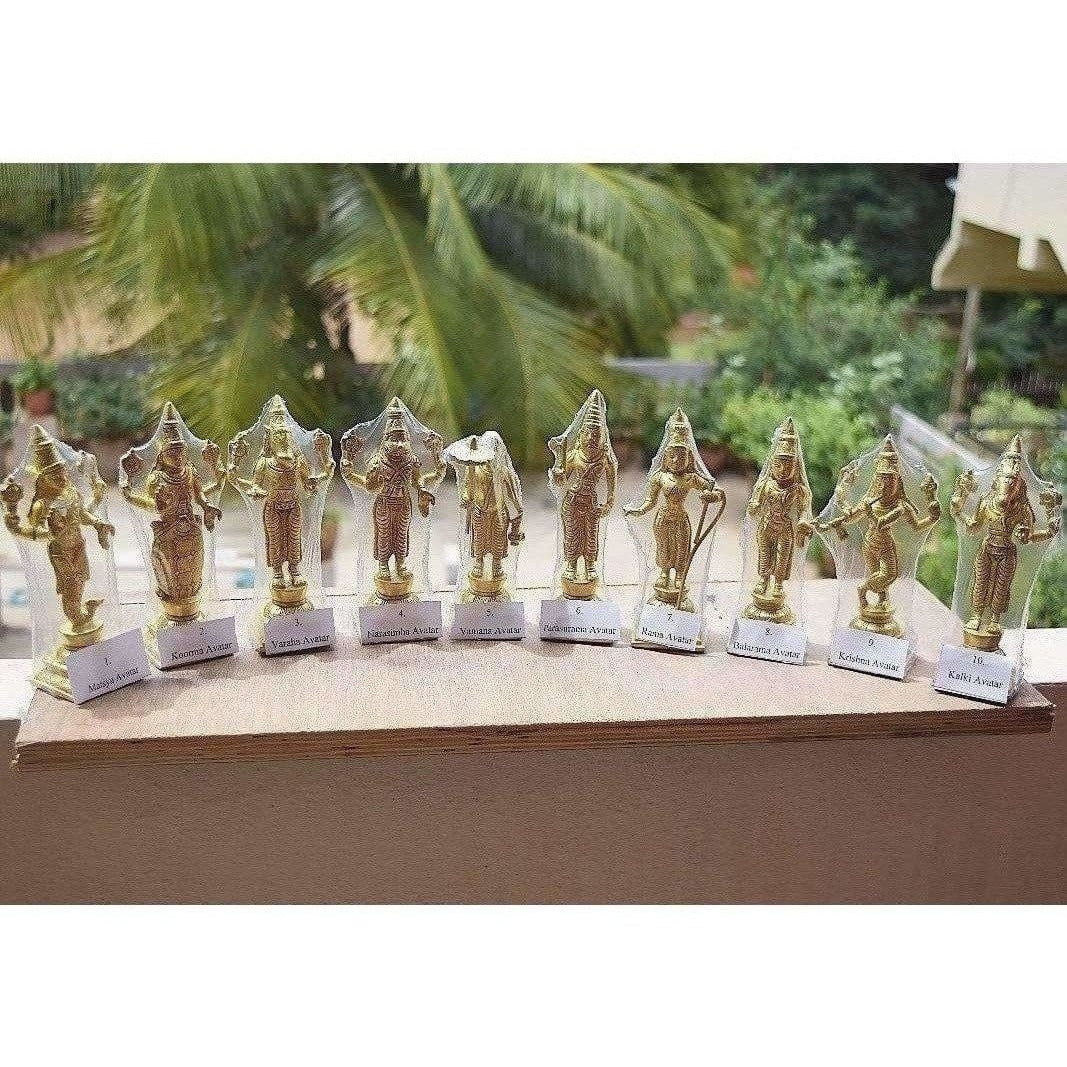 Dasavathara 10 Avathara's of Lord Vishnu-Brass Statue Set