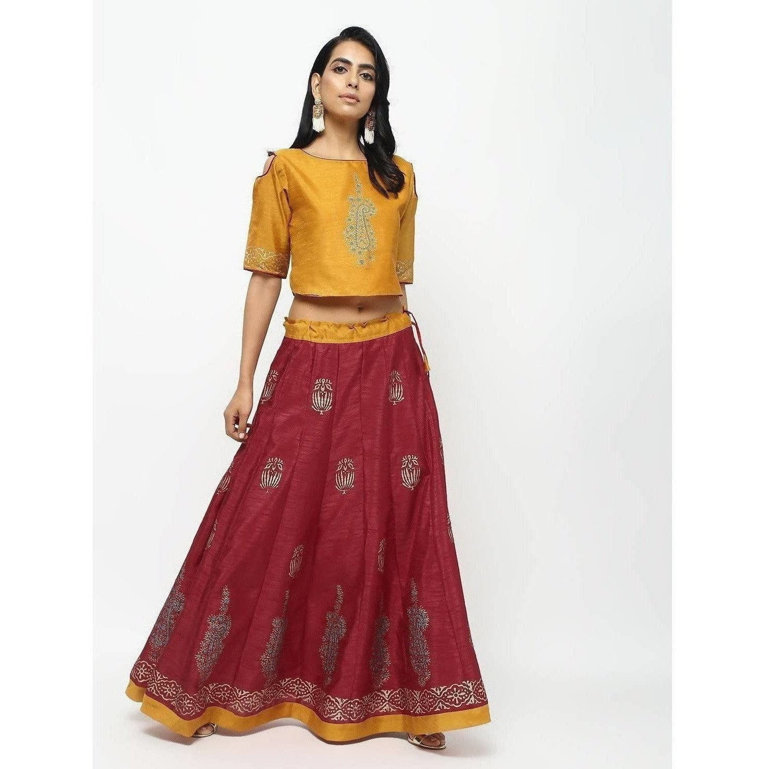 Cheera Lehenga Skirt With Beautiful Block Print And Contrast Top