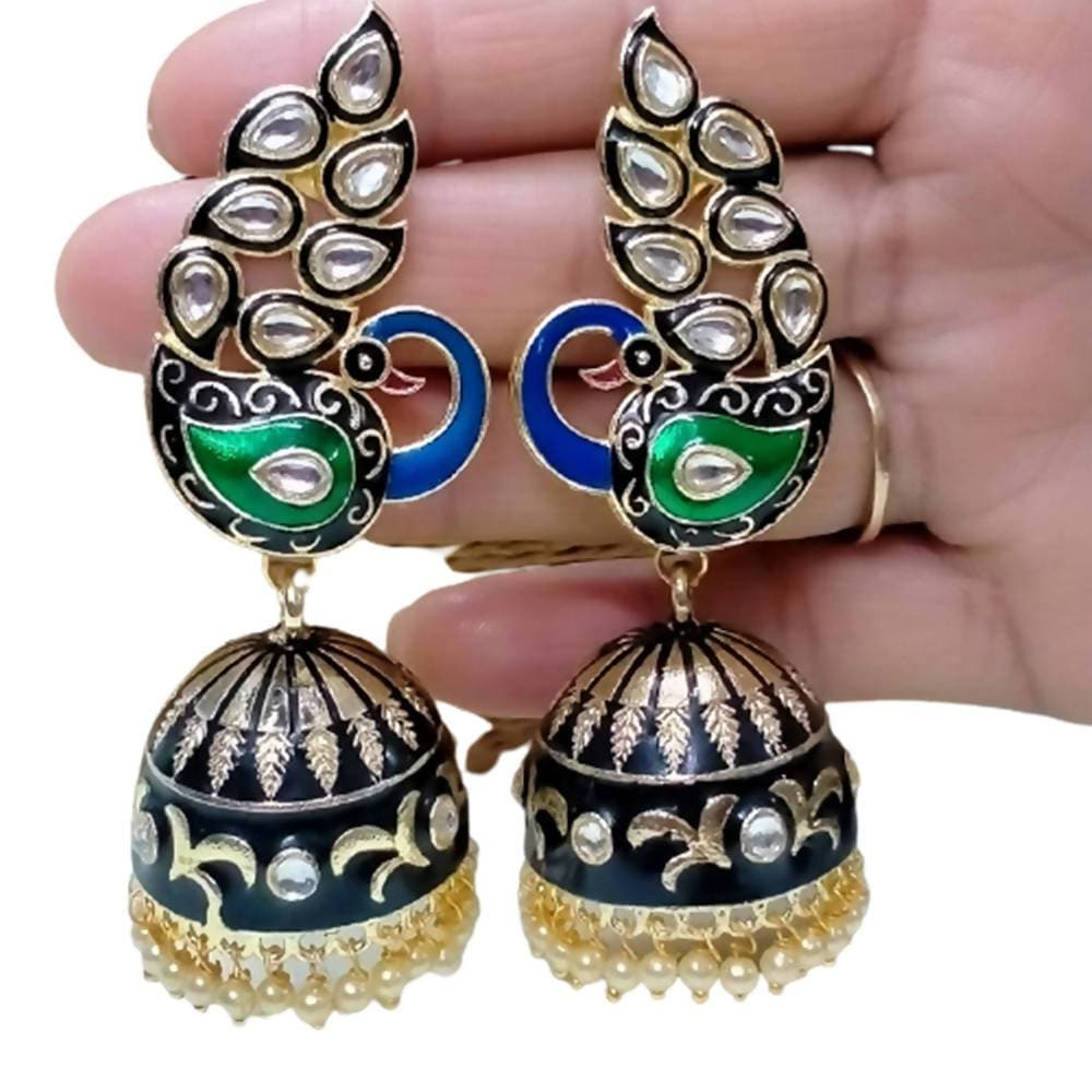 Megha Creations Peacock Jhumka Black And Green Colour Earrings - Distacart