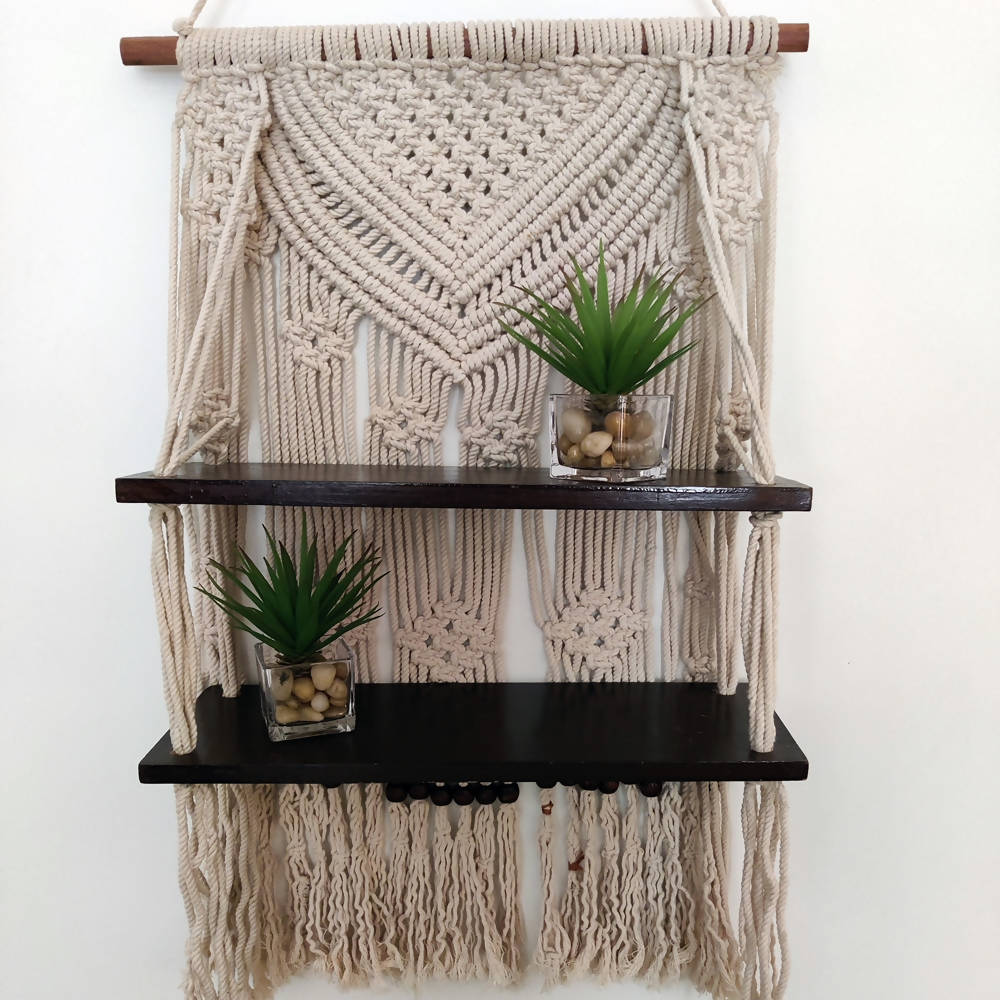 The Decor Nook Off White Macrame Double Wooden Self Wall Hanging - Distacart