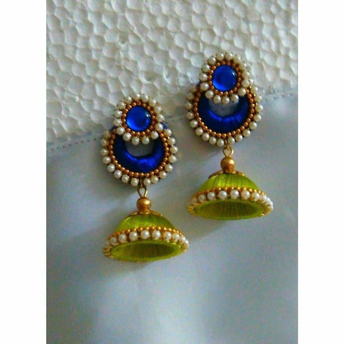 Green and Royal Blue Jhumki Earrings