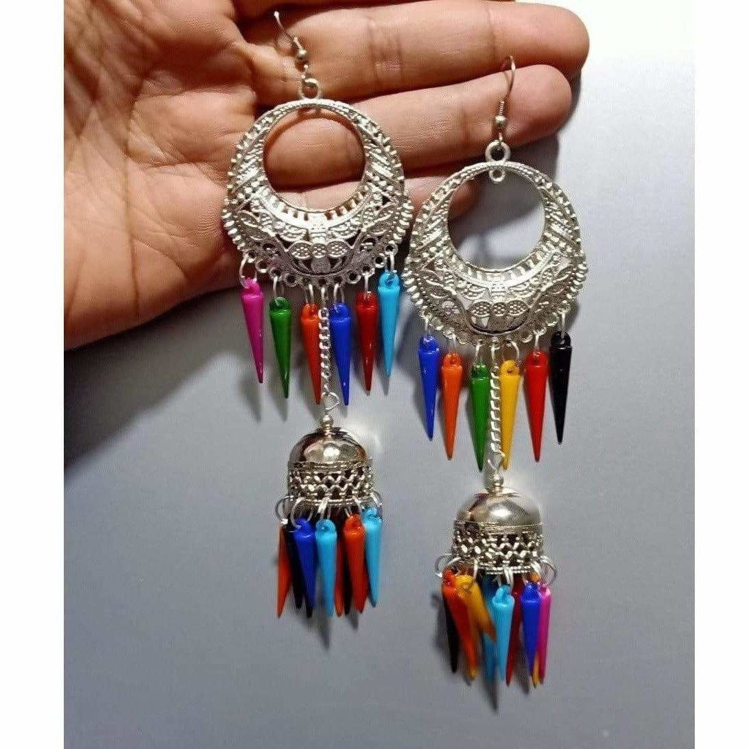 Half Moon Style Silver Earrings With Hanging Chain Jhumka Multicolor Pearls Earrings