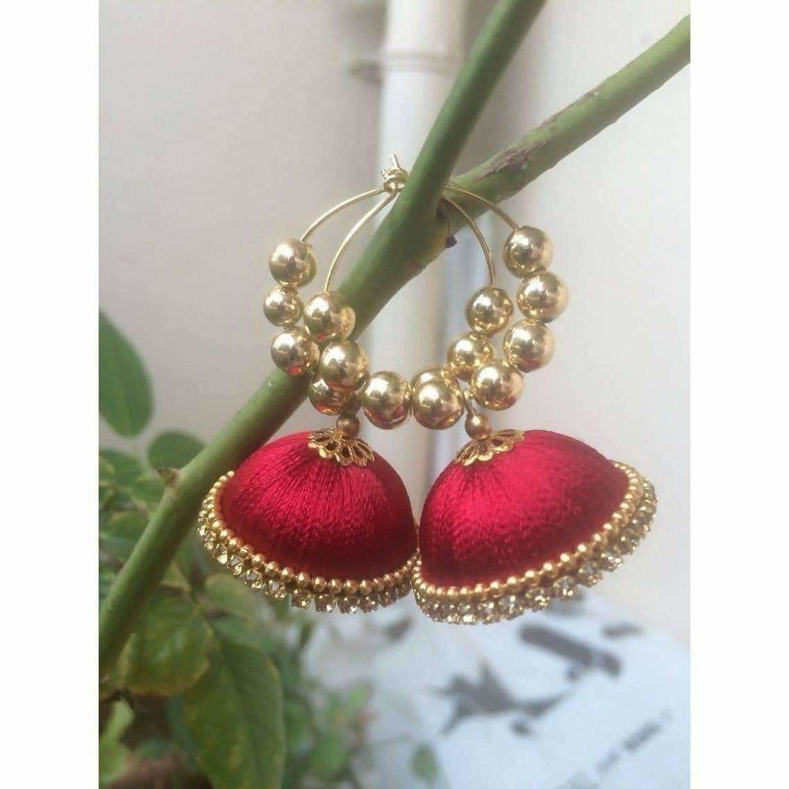 Dark Pink with Gold Color Beads Earrings - Dista Cart
