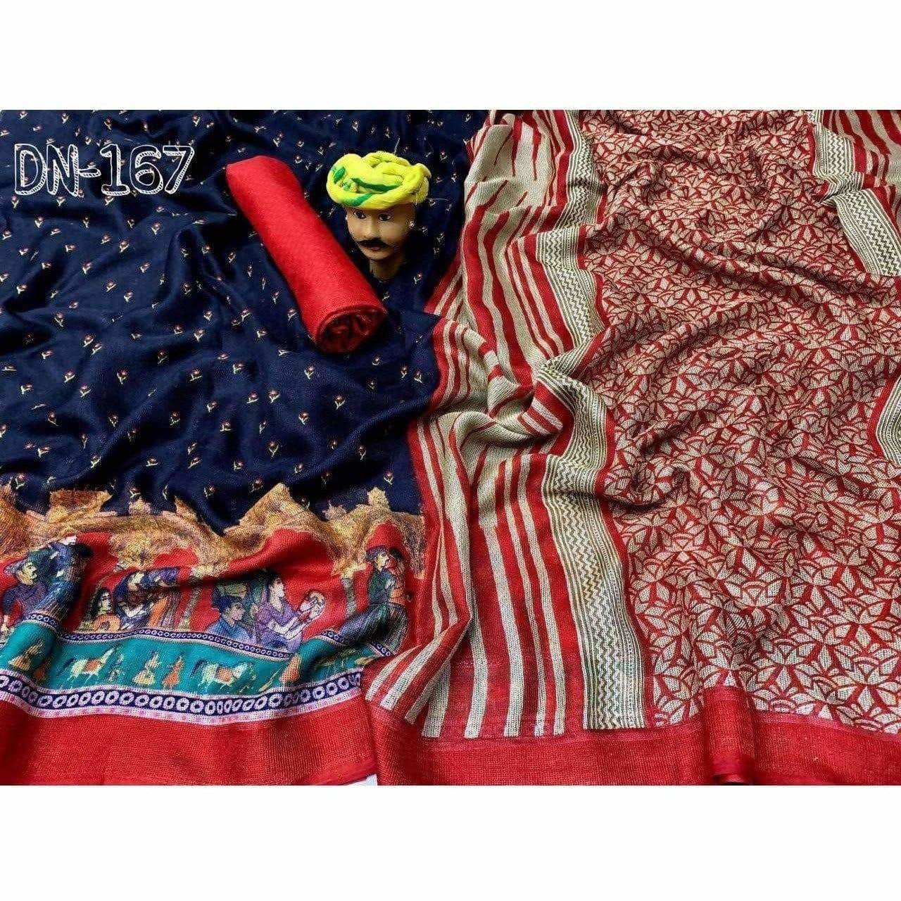 Jute Linen Cotton Saree With Beautiful Print Tassels In Pallu Portion