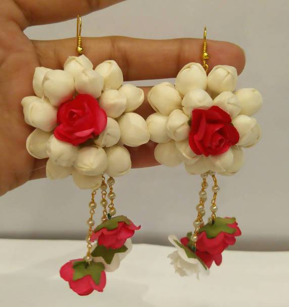 Pink and White Floral Earrings