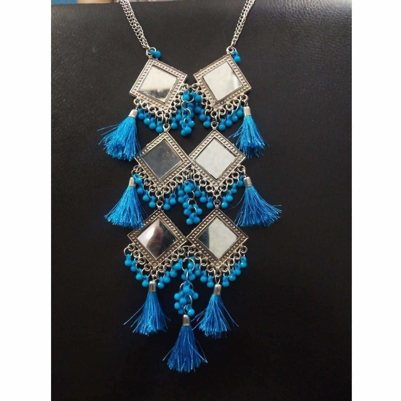 Long Hanging Party wear Triple Mirror Design Blue Color Pearls And Silk Threads Earrings