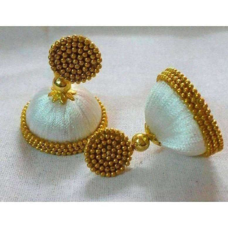 White Color with Gold Beads Earrings
