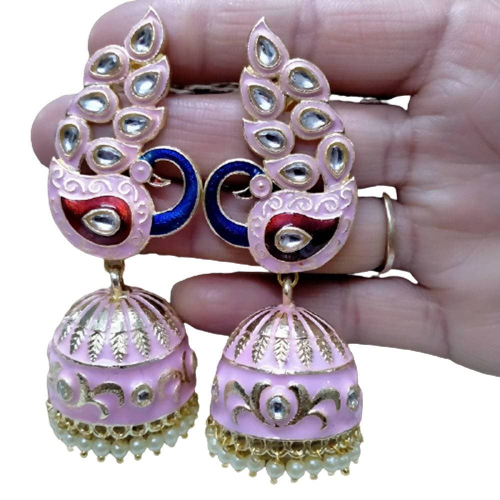 Megha Creations Peacock jhumka Baby Pink Colour Earrings - Distacart