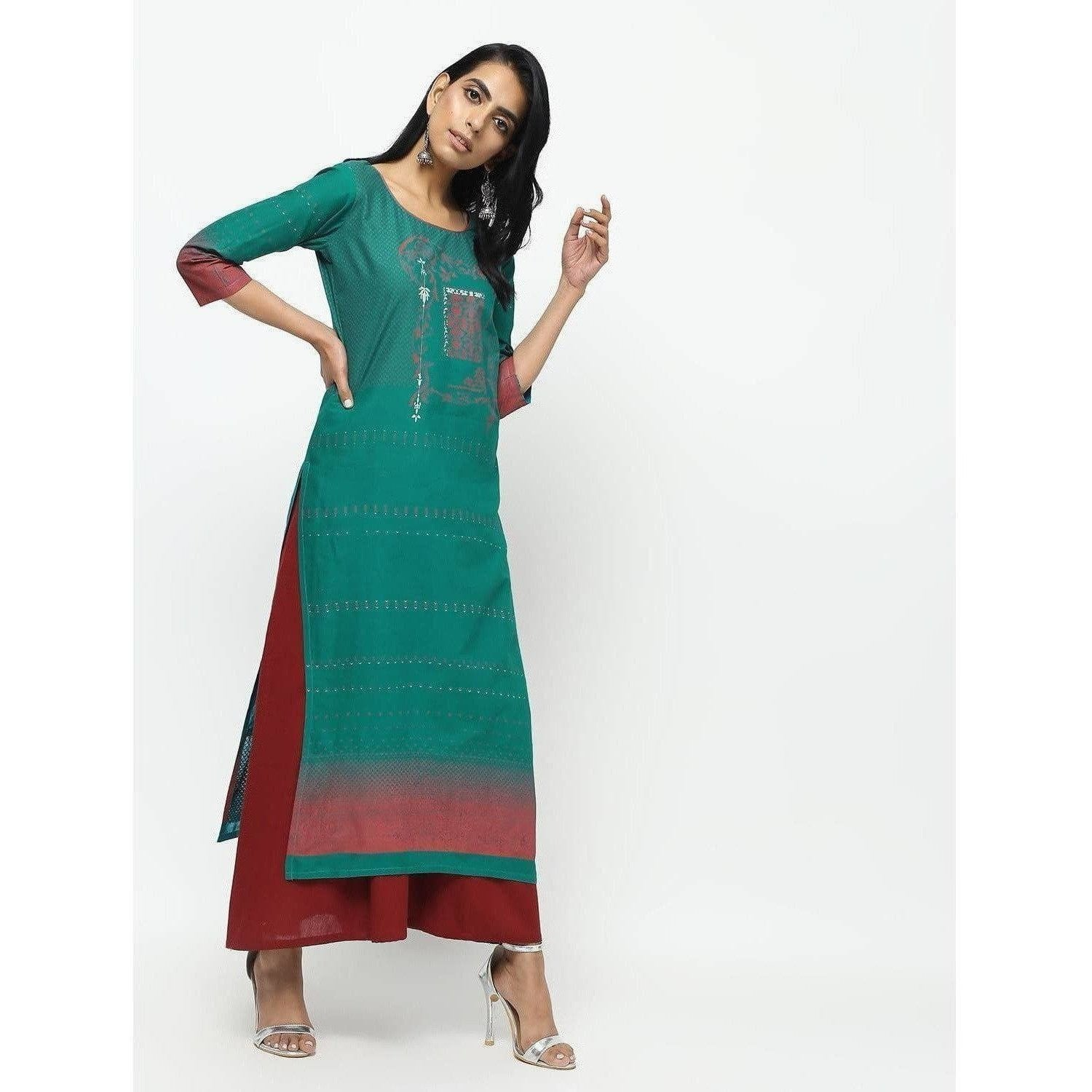 Cheera Green Straight Printed Kurta