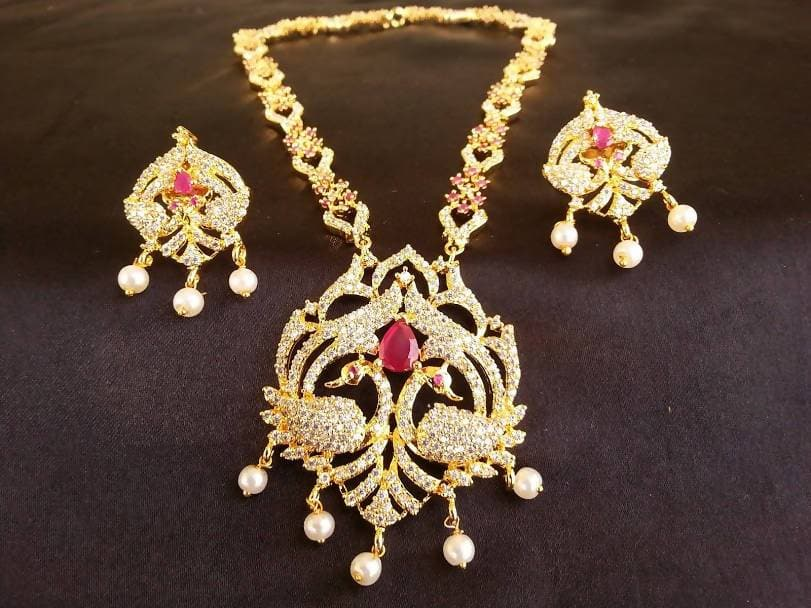 AD Ruby Peacock Necklace Set