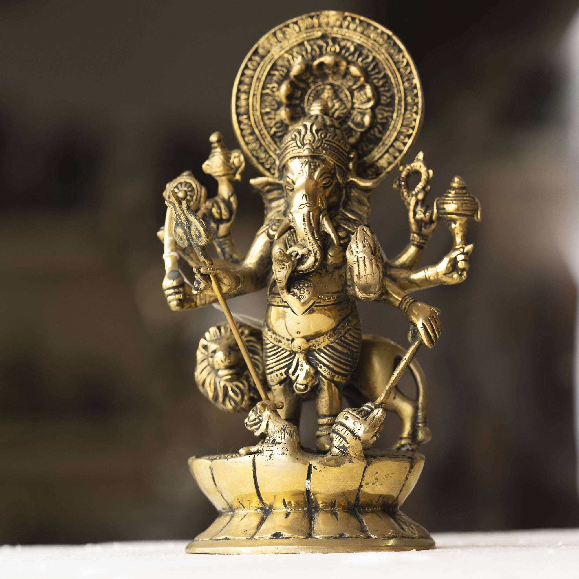Myoksha Lord Ganesha Standing Brass Idol - For Auspicious Beginnings