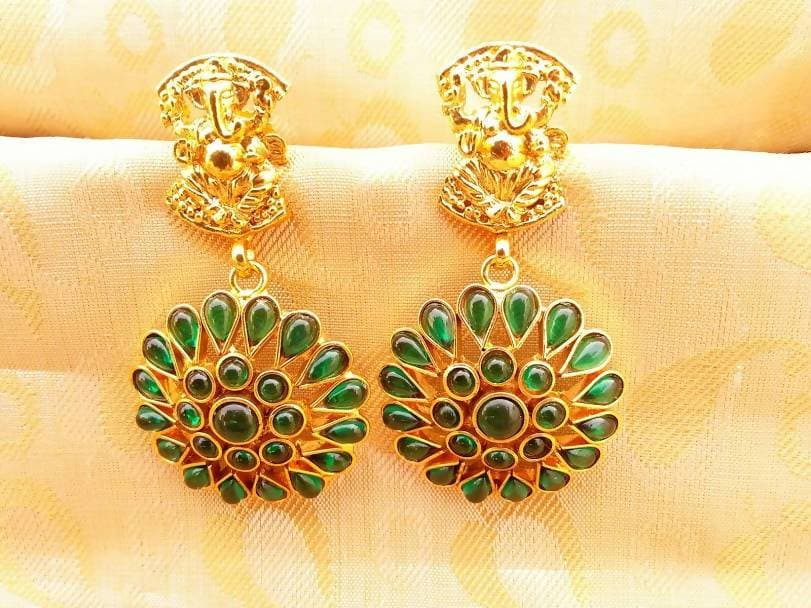 Green Kemp Ganesha Earrings
