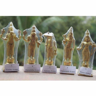 Dasavathara 10 Avathara's of Lord Vishnu-Brass Statue Set - Dista Cart