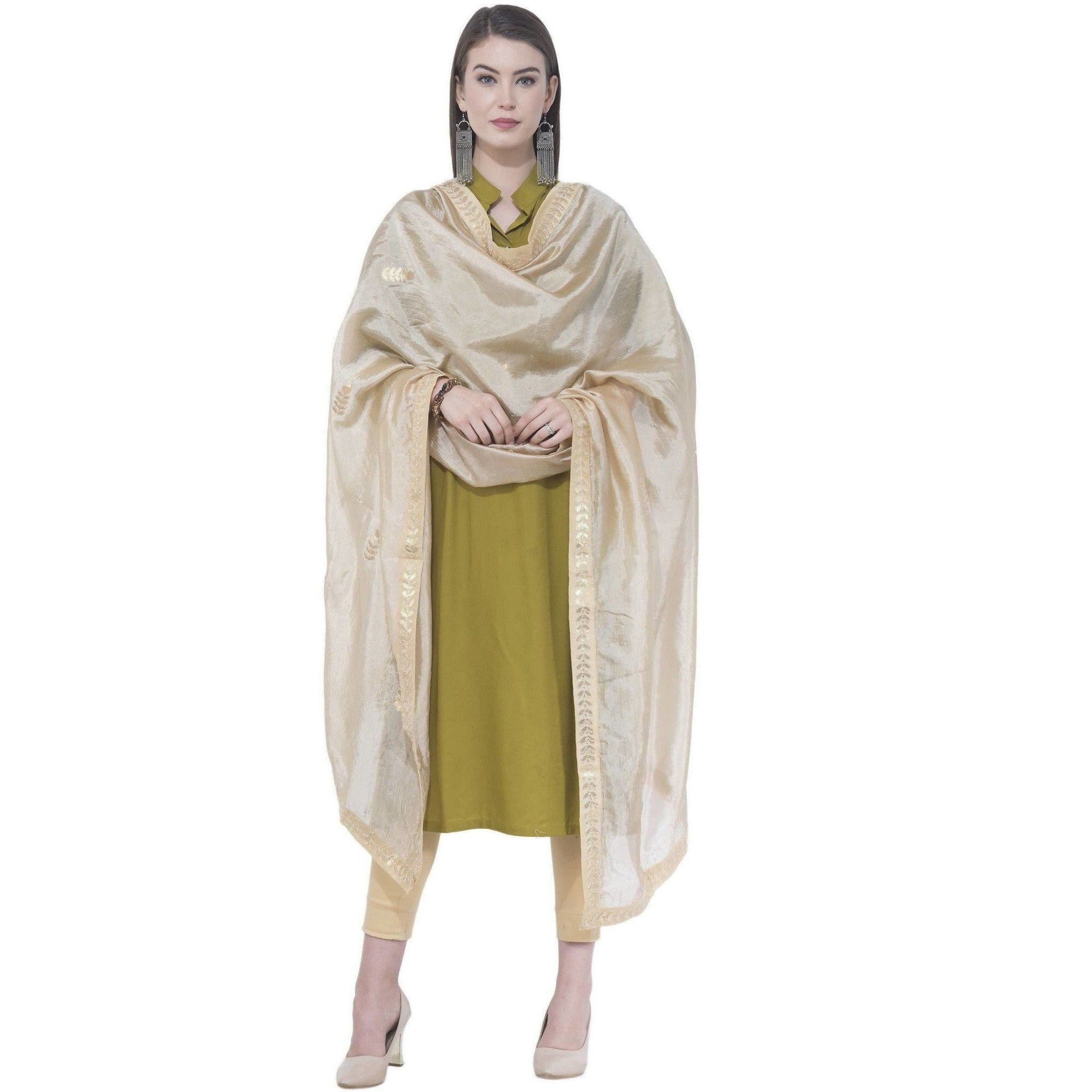 A R Silk Women's Gota Patti Silk Golden Dupattas and Chunnis