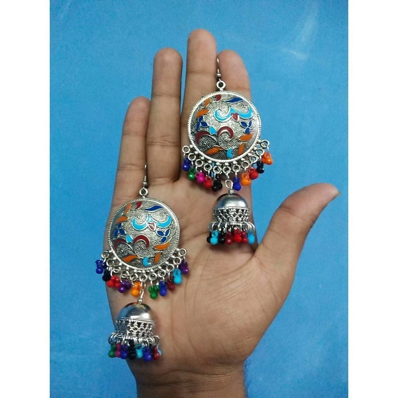Antique Design Multicolor Hanging Jhumkas With Pearls
