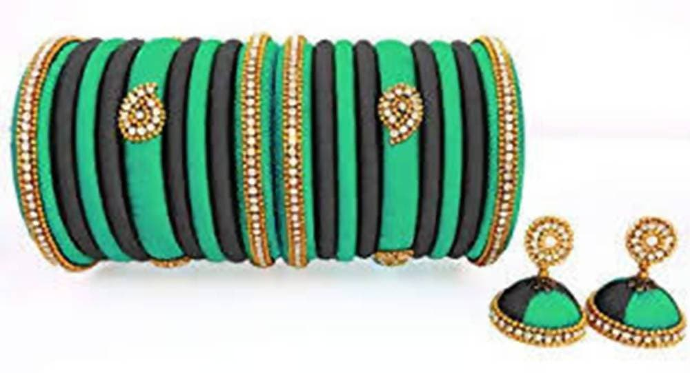 Green and Black Silk Threaded Earrings and Bangles Set of 2