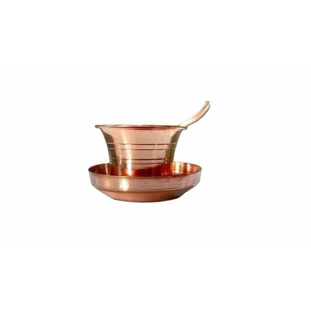 Copper Pancha Pathra Udharini(Spoon) with plate - Dista Cart
