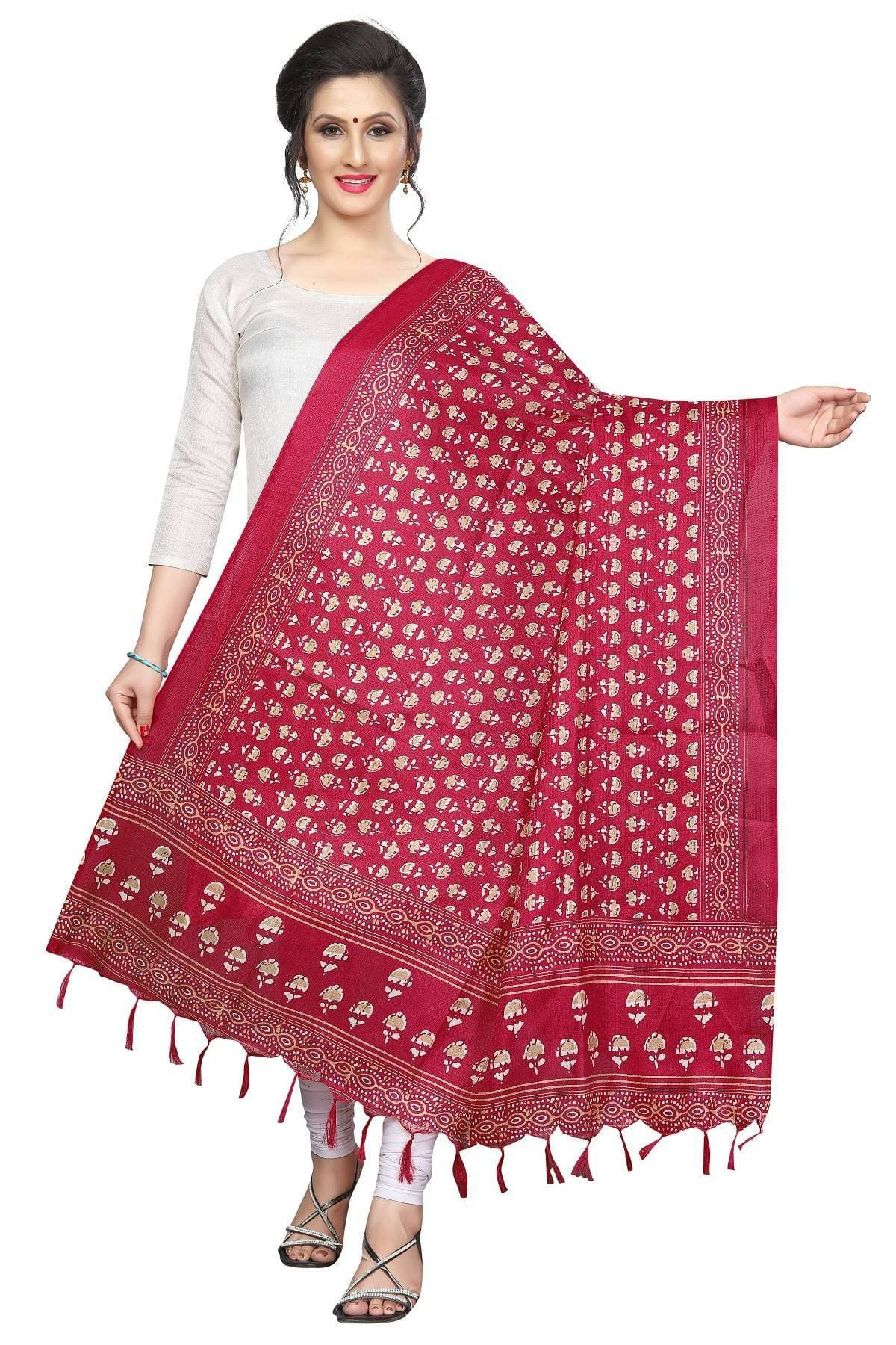 Vamika Red Printed Khadi Bhagalpuri Latest Dupatta